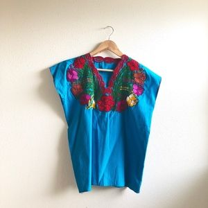 Vintage Mexican embroidered blue blouse cotton- M